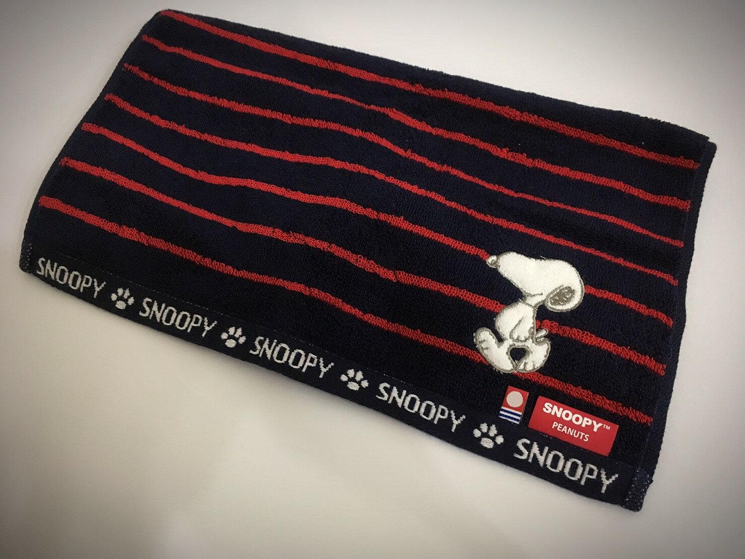 [iWork]日本製 SNOOPY 史努比長巾 黑紅條紋