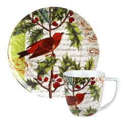 德國Waechtersbach經典彩繪系列390ml馬克杯+21cm盤組-Traditions紅鳥