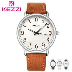 KEZZI 珂紫 K-1648 文青簡約低調數字錶面皮帶手錶