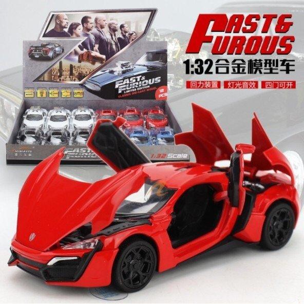 現貨 千合小舖 1:32合金模型車 超跑 萊肯 玩命關頭7 馮迪索 玩具 合金汽車 名車 速度與激情 回力 迴力 車
