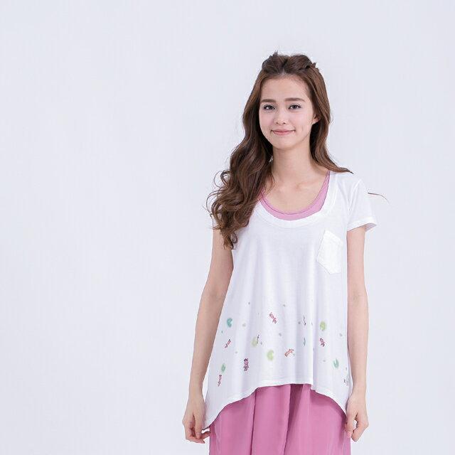 小金魚 傘襬女T 純白