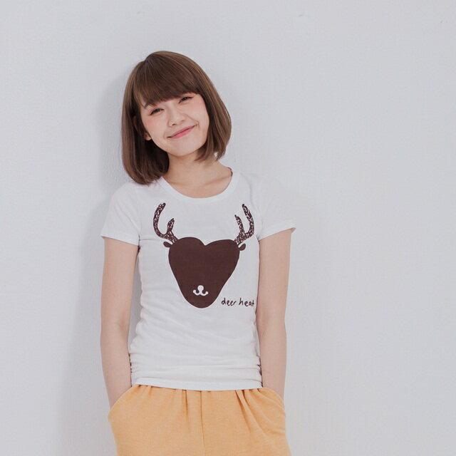 deer heart 蜜桃棉短袖 女T 戀人白
