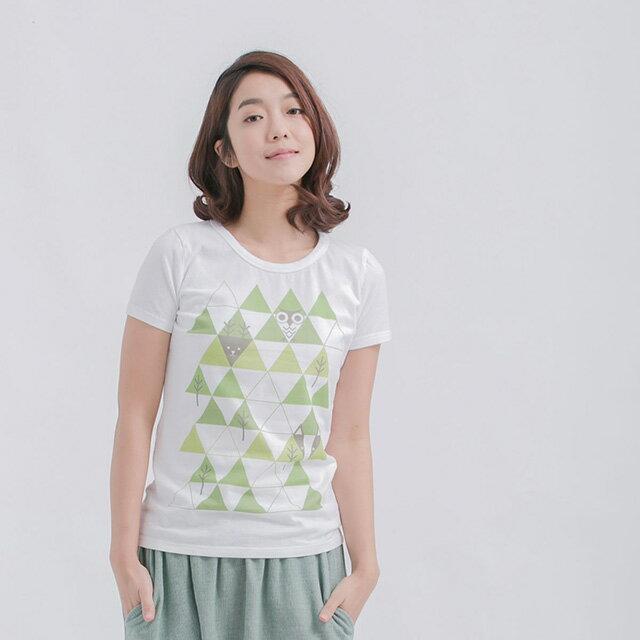 幾何山林 短袖 蜜桃棉 女T 純白