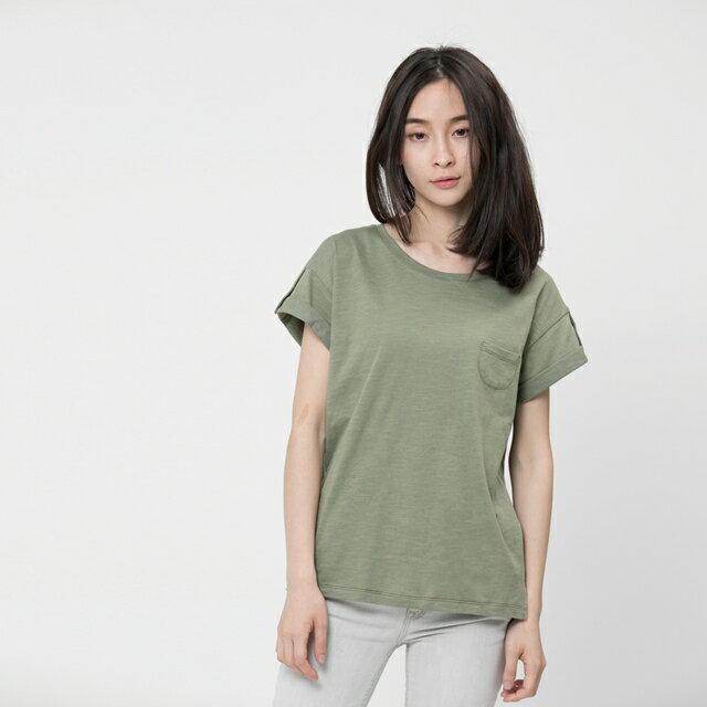 竹節棉褶袖鈕扣上衣 / 軍綠 0