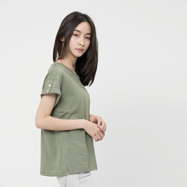 竹節棉褶袖鈕扣上衣 / 軍綠 1