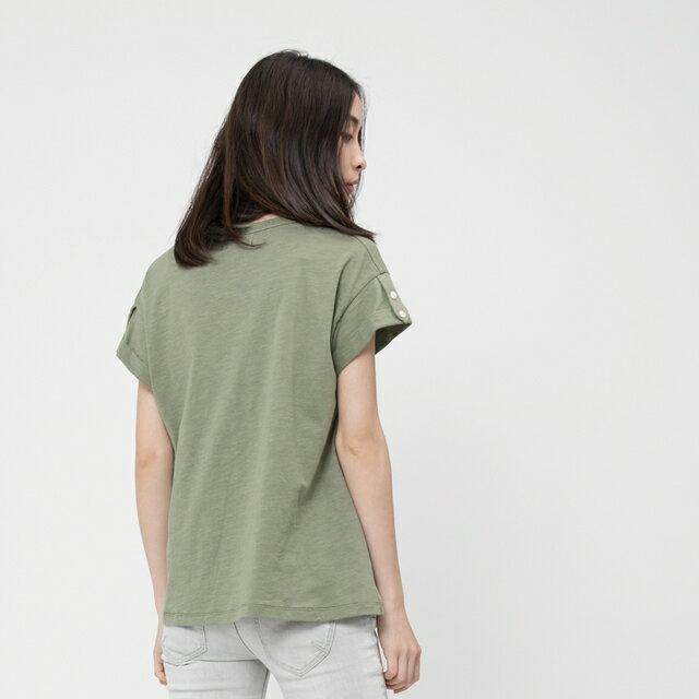 竹節棉褶袖鈕扣上衣 / 軍綠 2