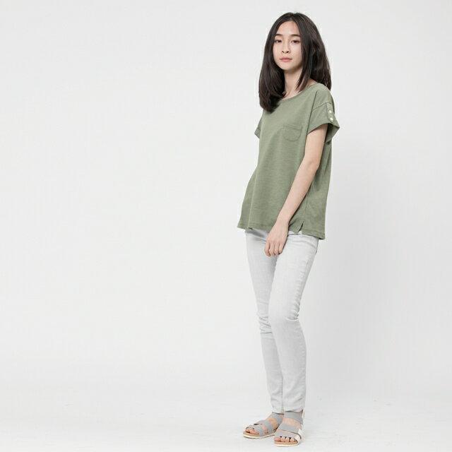 竹節棉褶袖鈕扣上衣 / 軍綠 3