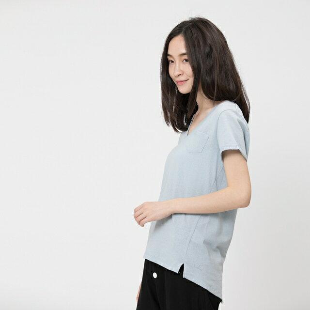 風吹棉V領燕尾上衣 /霧藍 1