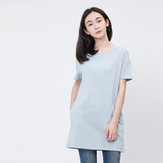 風吹棉口袋長版TEE/霧藍 1