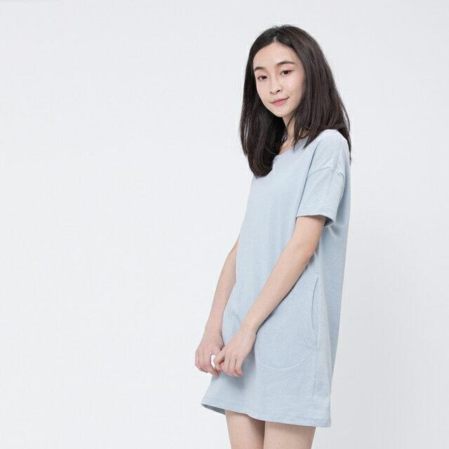 風吹棉口袋長版TEE/霧藍 3