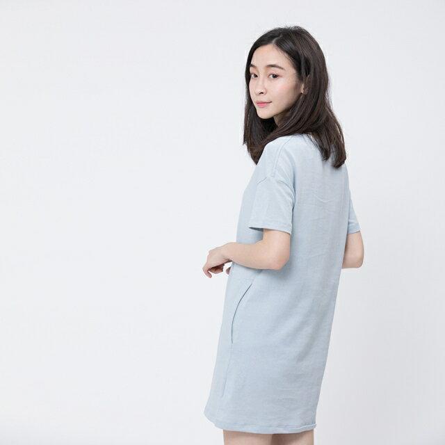風吹棉口袋長版TEE/霧藍 4