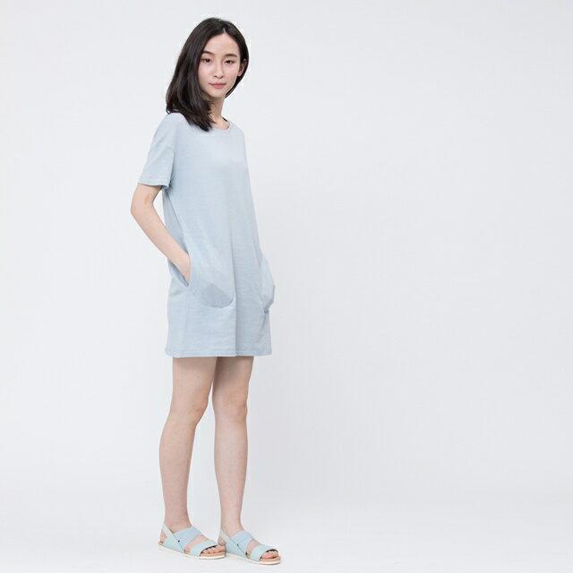 風吹棉口袋長版TEE/霧藍 5
