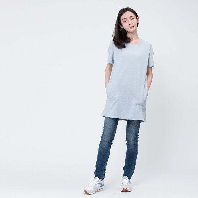 風吹棉口袋長版TEE/霧藍 2