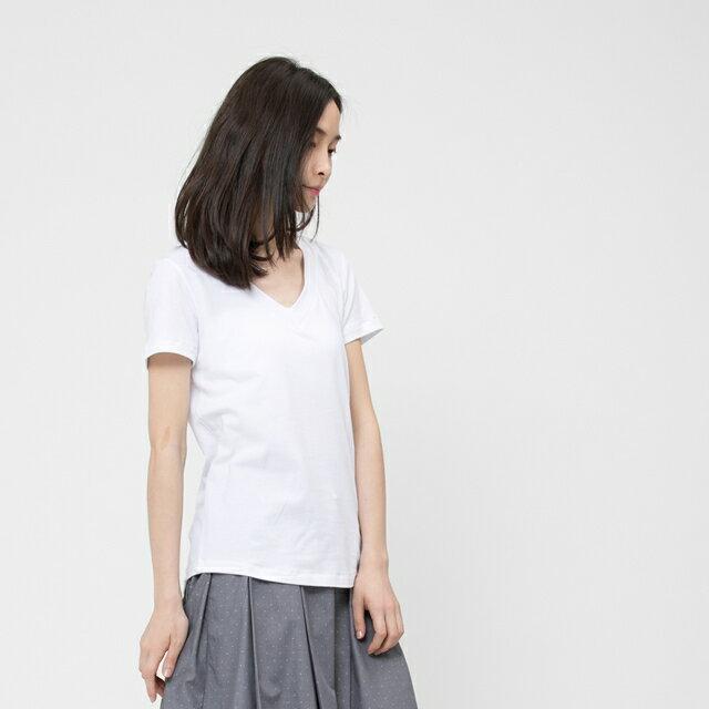 弓單棉自在V領上衣 / 白 2