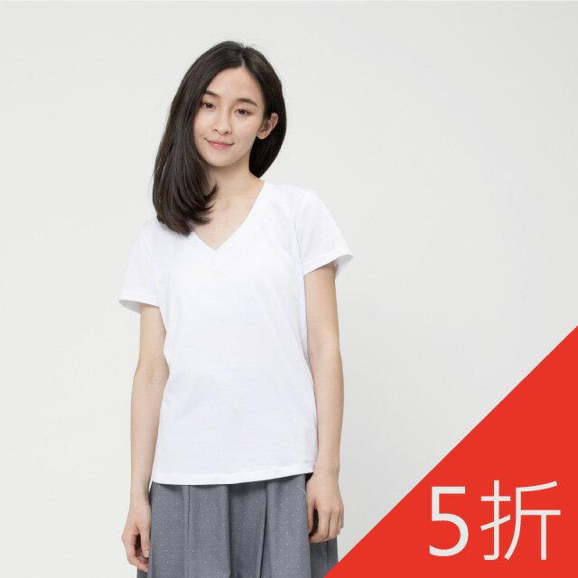 弓單棉自在V領上衣 / 白 0