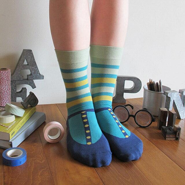 上學去 瑪麗珍禮物棉襪/海軍藍 MIT社頭襪子