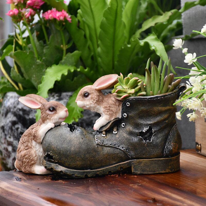 歐式卡通小號兔子多肉植物花盆創意可愛動物造型盆栽樹脂園藝擺件