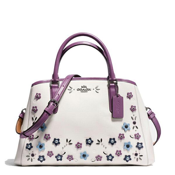 COACHF59449经典款女士戴妃包手提包可斜跨白底立体花