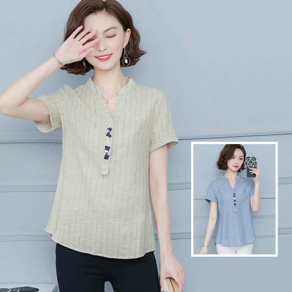 大碼寬鬆棉麻休閒短袖襯衫(2色M~4XL)【OREAD】 1