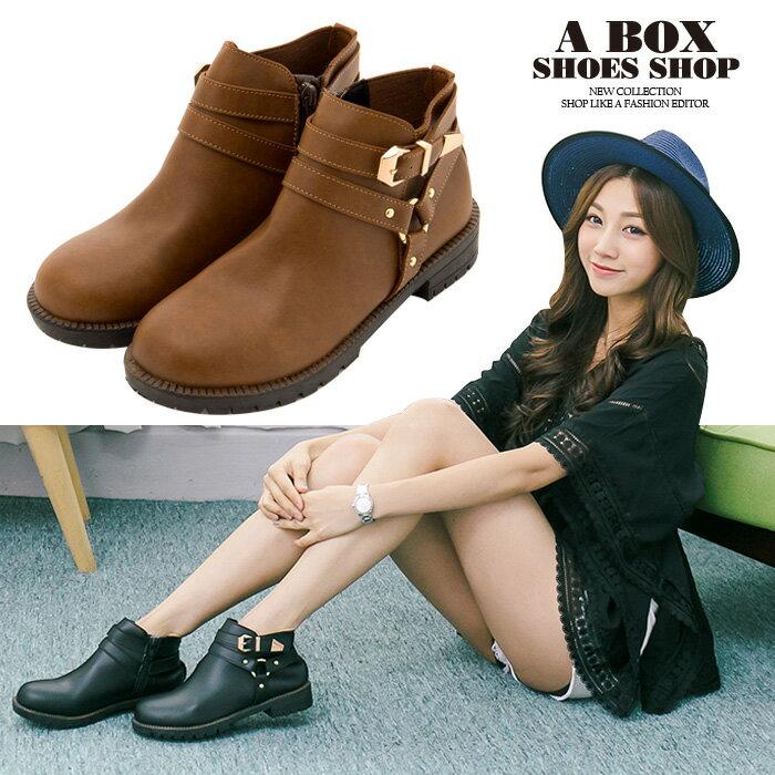 格子舖*【KW6790】MIT台灣製 韓版素面皮革時尚金屬 拉鍊穿拖 3CM低粗跟短靴 2色 0