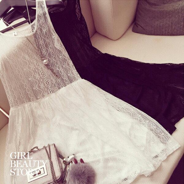 SISI【D7061】清新夢幻經典好搭鏤空蕾絲雕花無袖背心內搭長裙網紗裙背心裙洋裝