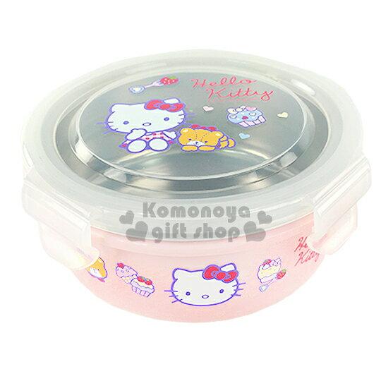 〔小禮堂〕Hello Kitty 不鏽鋼隔熱便當盒《粉.圓型.坐姿.小熊.杯子蛋糕》容量約270ml