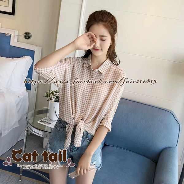 《貓尾巴》TS-0925 學院風格子短袖襯衫(森林系 日系 棉麻 文青 清新)