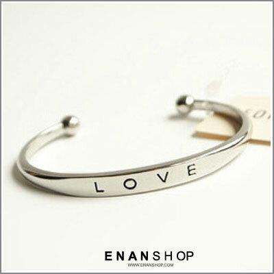 惡南宅急店【0338B】韓國熱賣款 字母LOVE 簡約歐美流行金屬手環