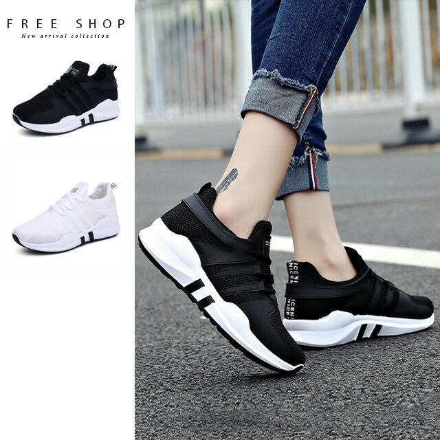 Free Shop 時尚拼色透氣網布厚底運動鞋 女 百搭 小白鞋 慢跑鞋 休閒鞋 黑色 白色【QCAW71003】