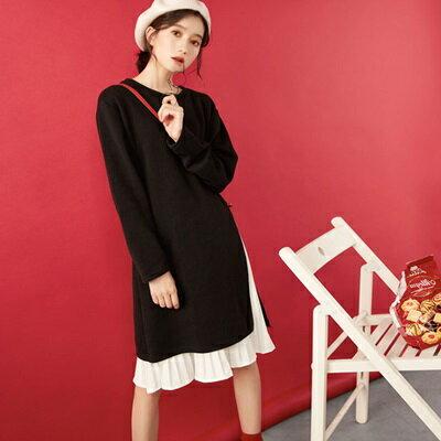 連身裙兩件套上衣-百摺雪紡針織時尚女連衣裙73rx8【獨家進口】【米蘭精品】