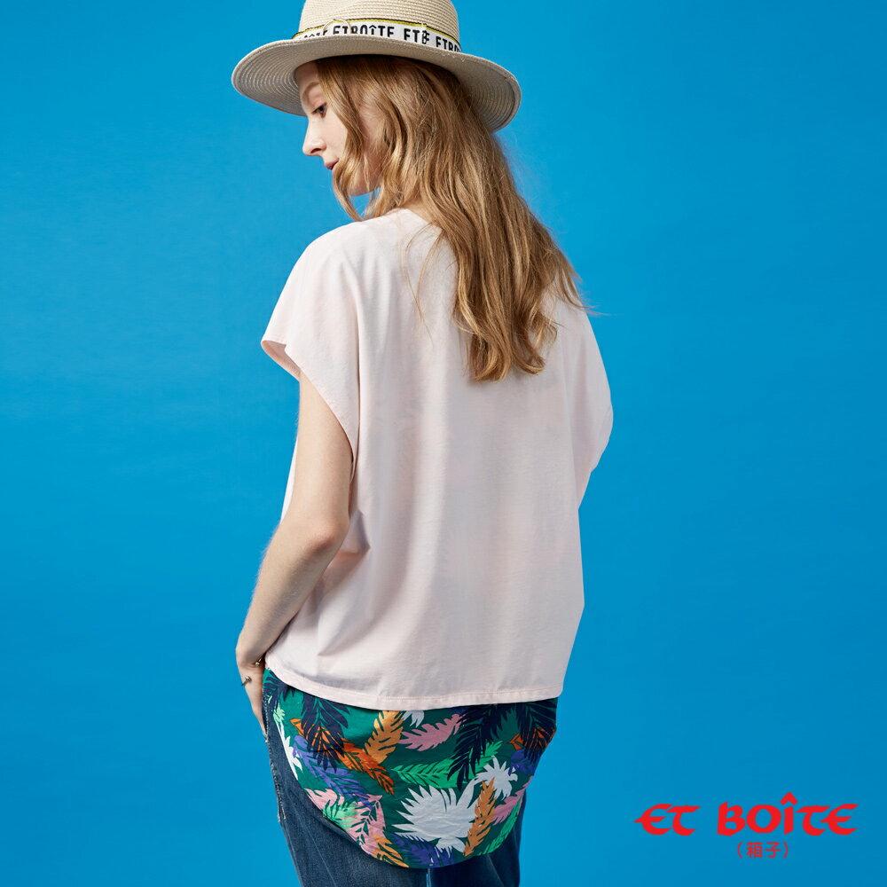 【春夏新品】後片透式花卉印花設計短TEE(粉) - BLUE WAY  ET BOiTE 箱子 1