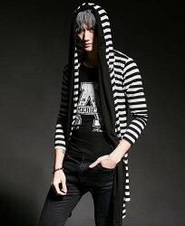 FINDSENSE 韓國潮流 個性 條紋拼接 連帽 不規則 時尚 街頭潮男 夜店 DJ 發型師 必備 長袖T恤 特色長T
