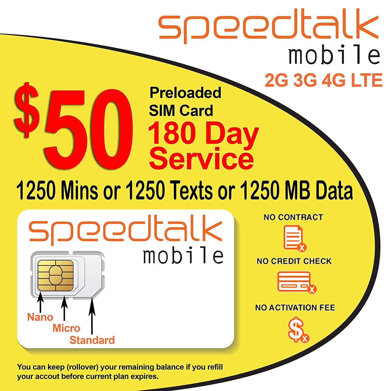 SpeedTalk Mobile: $50 GSM SIM Card