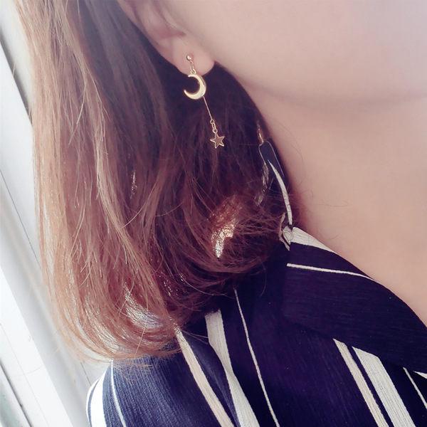 PS Mall 飾品 氣質耳飾品 星星月亮款不對稱宇宙元素藍色耳釘 耳環~G2389~ ~