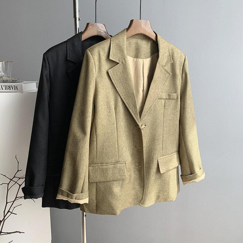 2021春西裝外套女黑色長袖韓版寬鬆chic薄款氣質休閒西服