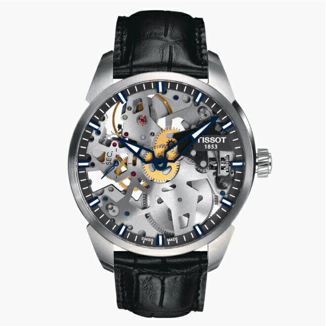 TISSOT天梭 T0704051641100 / 杜魯爾 鏤空機械錶 / 46小時動力儲存 / 43mm