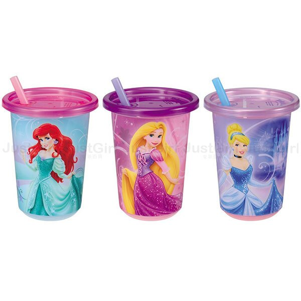 迪士尼 TOMY多美 愛莉兒長髮公主灰姑娘 杯子 飲料杯 吸管杯 3入 296ml 餐具