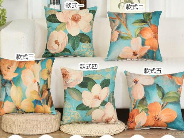 45*45美式鄉村花朵抱枕客廳沙發靠墊靠枕套單售