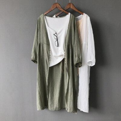 女裝防曬衫薄款中長款七分袖開衫外套樂天時尚館。預購。[全店免運]