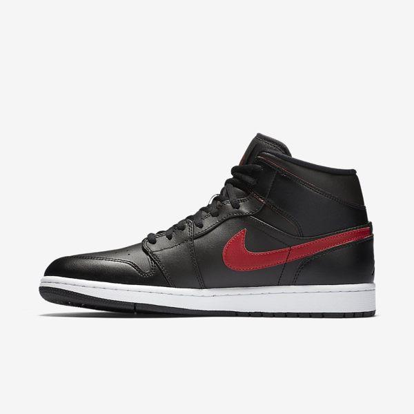 NIKE AIR JORDAN 1 MID AJ1 男鞋 籃球鞋 休閒鞋 喬丹 黑 紅 白 【運動世界】 554724-009