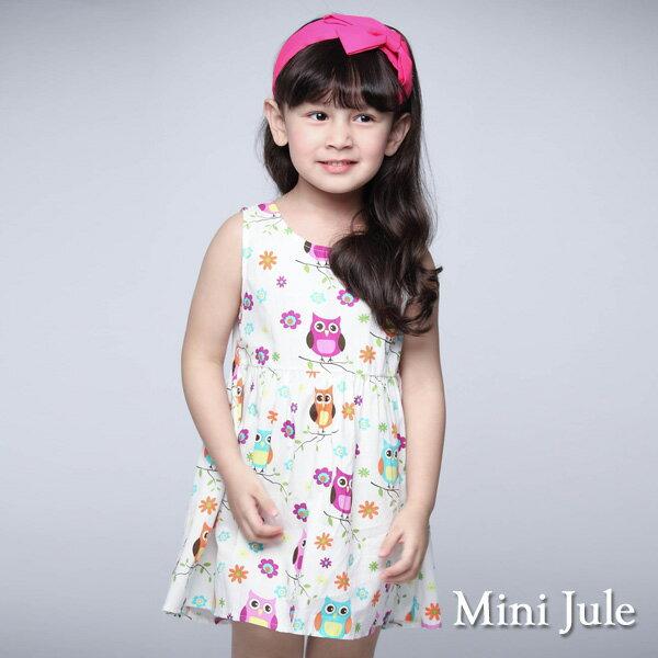 《MiniJule童裝》洋裝貓頭鷹花朵後拉鍊背心洋裝(米白)
