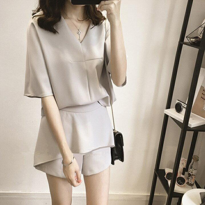 套裝  新款韓版氣質時尚休閒小香風套裝女雪紡上衣短褲兩件套