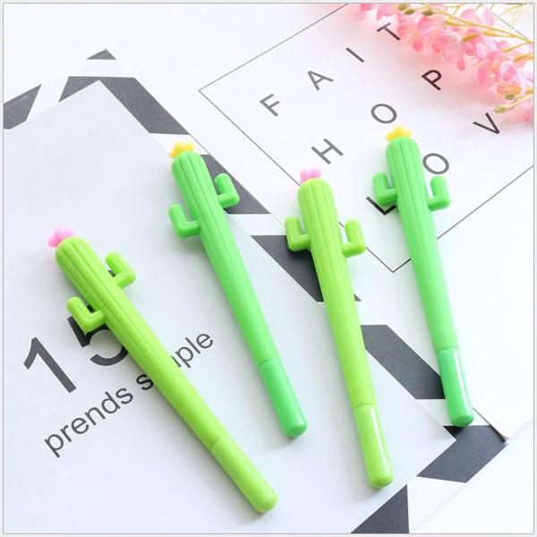 創意小清新仙人掌造型中性筆 學生筆 黑色0.05mm 水性筆 【庫奇小舖】隨機出貨