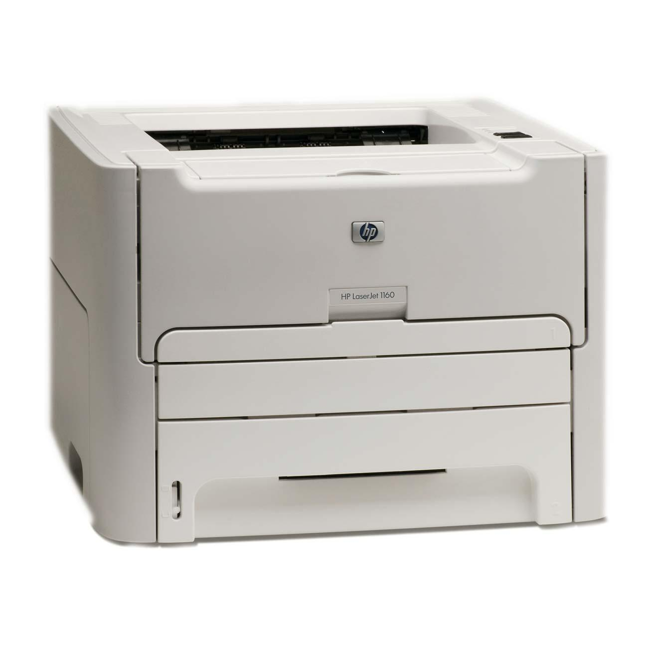 HP LaserJet 1160 Laser Printer - Monochrome - 600 x 600 dpi Print - Plain Paper Print - Desktop - 20 ppm Mono Print - Letter, Legal, Executive, Index Card, Monarch Envelope, Envelope No. 10, Custom Size - 250 sheets Standard Input Capacity - 10000 Duty Cy 0