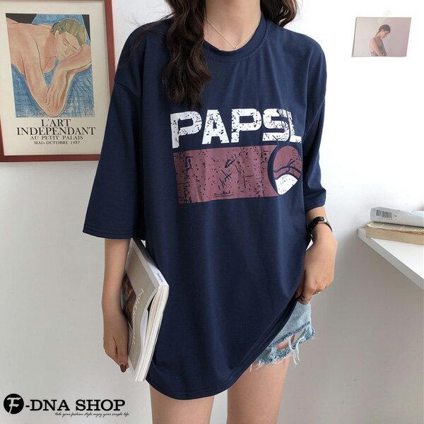 F-DNA★PAPSL拓印英文印字圓領五分袖上衣T恤(2色-M-2XL)【ET12705】 2