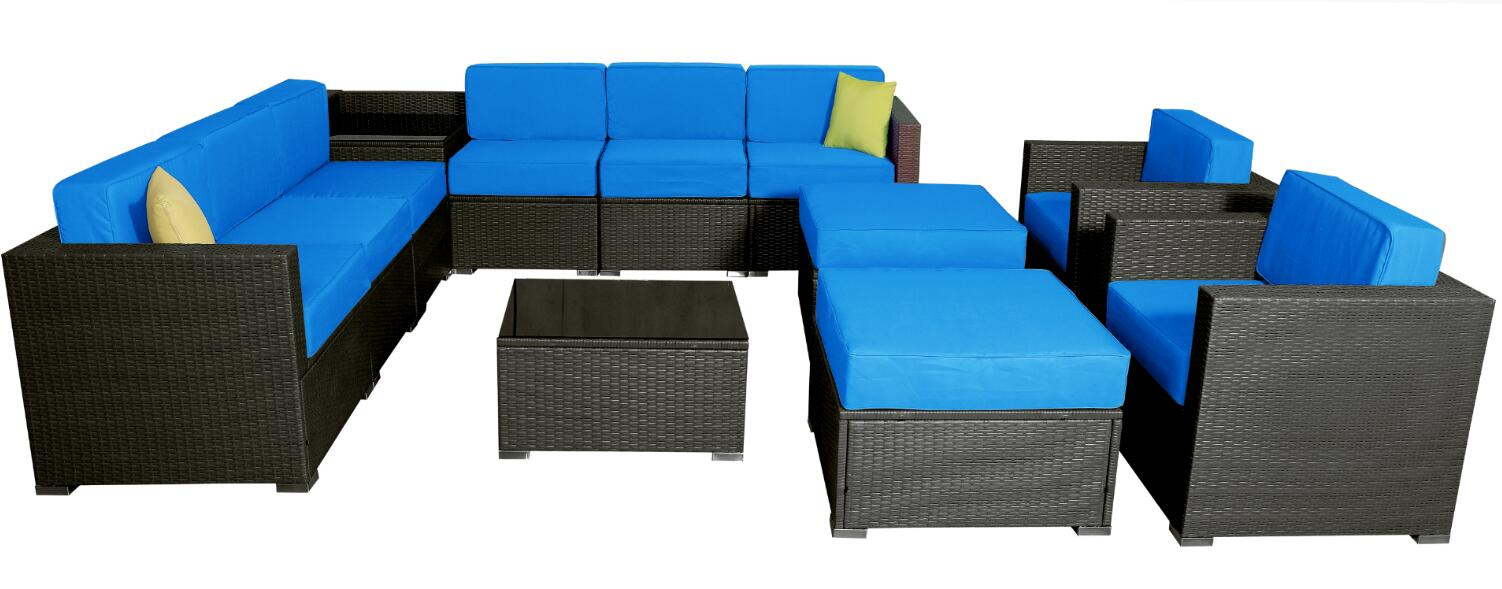 Mcombo 6082 13pc Ger Size Outdoor Furniture Luxury Patio With Black Wicker And Blue Cushion Cover