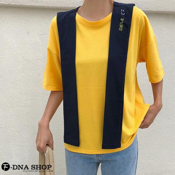 F-DNA★刺繡微笑可拆兩件式披肩圓領短袖上衣T恤(2色-M-2XL)【ET12690】 4