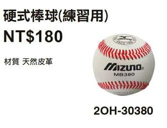 [陽光樂活=] MIZUNO 美津濃 硬式棒球(練習用) 天然皮革 2OH-30380