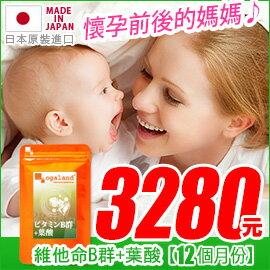 歐格蘭德日本保健食品:葉酸錠(添加維他命B群)(孕婦健康)【約10+2個月份】日本進口保健食品