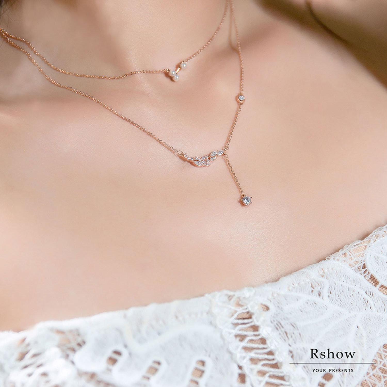 【Rshow】Mini Pearl 小米珠玫瑰金鎖骨鍊 0